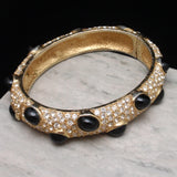 Ciner Hinged Bangle Bracelet Black Cabs Clear Rhinestones