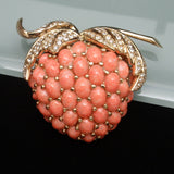 Strawberry Fruit Pin Vintage Brooch Coral Glass Cabs Ciner