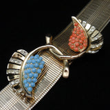 Coro 1946 Bracelet Sterling Silver Articulated Flexible Rhinestone Leaf