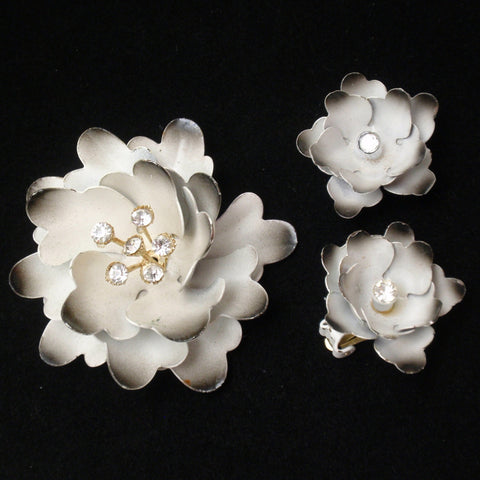Coro Flower Pin and Earrings Set