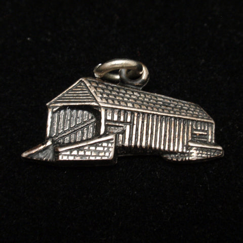 Silver Covered Bridge Charm