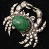 Crab Pin Vintage Sterling Silver & Malachite Mexico Brooch