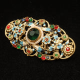 Czech Vintage Brooch Pin Multi-Colors Stones and Enamel