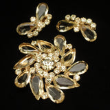 Juliana Set Vintage Pin & Earrings Lemon Yellow Stones D&E