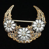 Crescent with Daisy Flowers Pin Vintage Mixed Metals Rhinestones