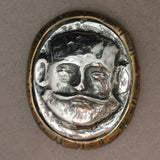 Mask Face Sterling Silver & Brass Pendant or Focal Point for Bracelet Arts & Crafts