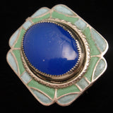 Art Deco Enamel Pin Vintage Peacock Colors