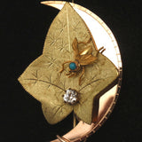 Insect & Dewdrop on a Leaf Pin Victorian Gold Filled w/ Paste
