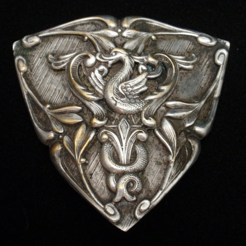 Ornate Triangular Pin with Dragon and Flourishes Vintage Brooch Repousse