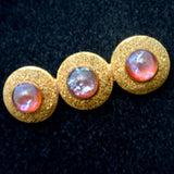Domed Dragon's Breath Pin Glass Stones Bar Vintage Fire Opal