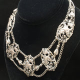 Dragons Necklace 3-Strands Swag Vintage Silver Tone