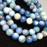 Blue Dyed Agate Double Strand Necklace Sterling Silver Clasp