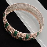 "Eloxal Silver and Green Bangle Bracelet Vintage 7/8"" Wide Aluminium"
