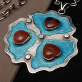 Carnelian Hearts on Enamel and Silver Necklace Vintage Hallmarked