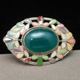 "Enamel ""Eye-Shaped"" Art Nouveau Pin Brooch"