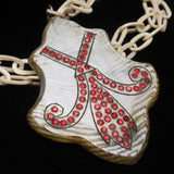 Medallion Pendant Necklace Carved Celluloid & Rhinestones