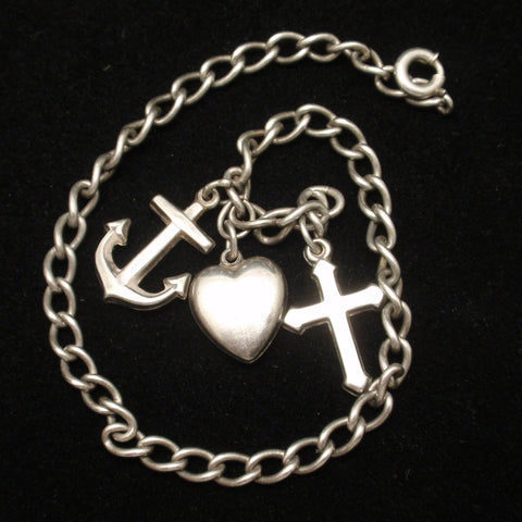 Faith Hope Charity Charm Bracelet