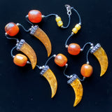 "Ball and Claw Necklace Chunky Imitation Amber 34"" Long"