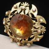 Eagles Battle Axes Pin Topaz Rhinestone Vintage Brooch Florenza