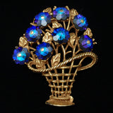 Basket of Flower Brooch Pin Vintage Royal Blue Vitrail Blossom Shaped Stones