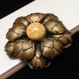 Flower Brooch Pin Carved Bakelite Button Center Vintage