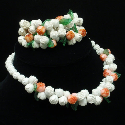 Floral Celluloid Necklace and Bracelet