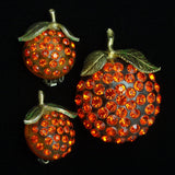 Forbidden Fruit Pin & Earrings Set Rhinestones Lucite Oranges Vintage