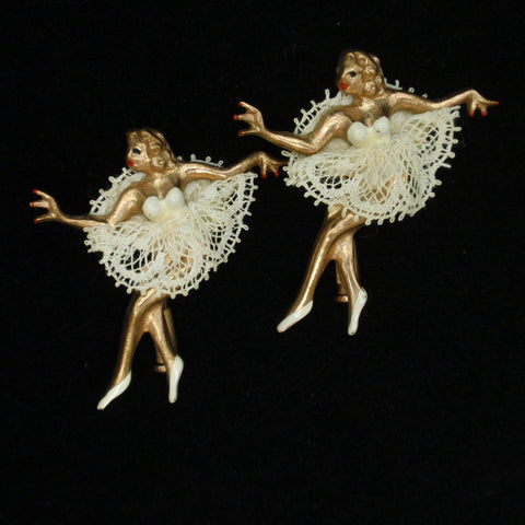 Pair of Ballerina Scatter Pins Lace Tutus Handmade Paris Vintage