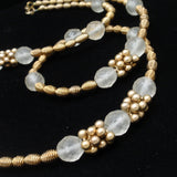 "Frosted Crystals and Textured Beads Necklace 34"" Long Vintage"
