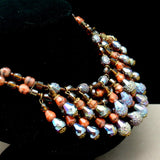 Double Strand Glass Beads Fringe Necklace Vintage Germany