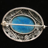 Art Glass and Sterling Silver Vintage Pin from Germany