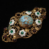 Enamel Rhinestone Filigree Pin Brooch Vintage West Germany