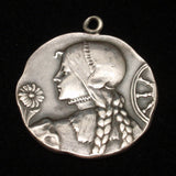 Medallion Large Charm Sterling Silver France Engraved 1903 Woman in Braids