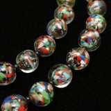 Sommerso & Aventurine Glass Beads Double Strand Necklace Vintage