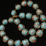 Glass Beads Necklace Blue with Aventurine Gold Flecks Vintage