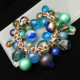 Bead & Bauble Charm Bracelet Art Glass Plastic Greens Blues
