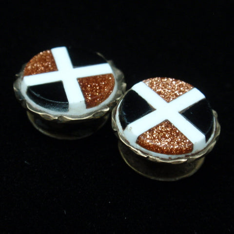 Onyx and Goldstone Collar Studs