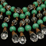 Fringe Necklace Green Glass & Crystals Vintage