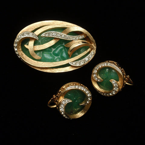Green Pin & Earrings Set