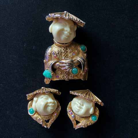 HAR Figural Brooch and Earrings Set Vintage