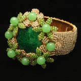Stanley Hagler Hinged Clamper Bracelet Vintage Seed Pearls and Green Flowers