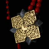 Stanley Hagler N.Y.C Necklace Vintage Red Showy Flower