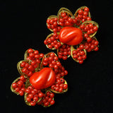 Miriam Haskell Set Red Glass Flowers Pin & Earrings Vintage