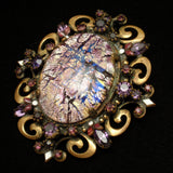 Hobe Pin Vintage Purple Crackle Art Glass Brooch Rhinestones Enamel Pendant Bail