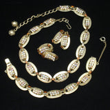 Hobe Parure Set Necklace Bracelet Earrings Rhinestones Vintage