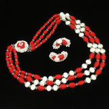 Hobe Set Red & White Necklace Earrings Vintage