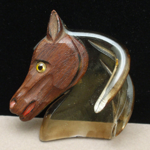 Wood and Lucite Horse Pin