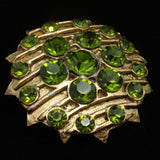 Jeanne Brooch Pin Large Green Stones Striped Texture Star-Points Edging