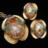 Easter Egg Set Necklace Earrings Vintage Judy Lee Glass Art Stones