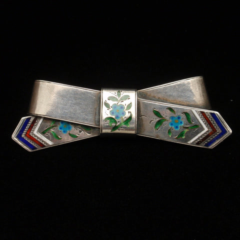 Russian Silver Bow Pin
